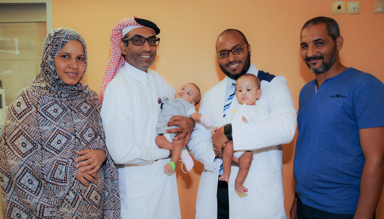 1. Sidra Medicine - Separated Twins with parents  Dr. Mansour Ali Dr. Abdalla Zarroug.JPG