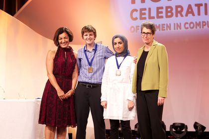 Amna Al Zeyera wins first place at the Grace Hopper Celebration of Women in Computing conference.jpg