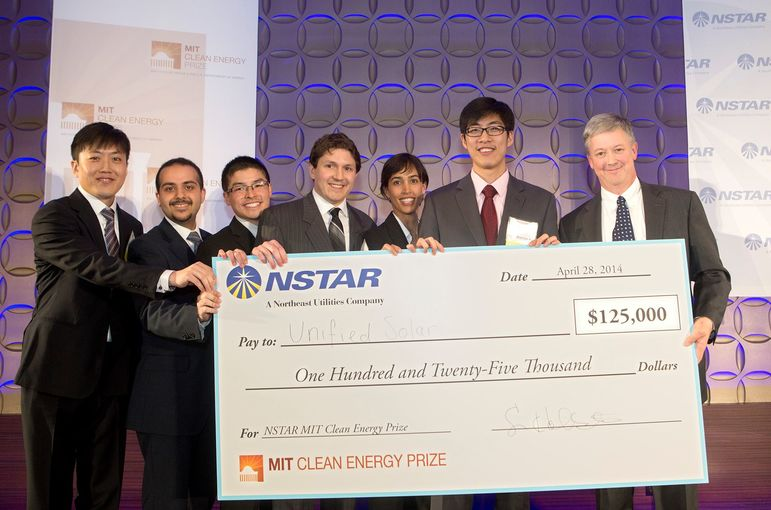 Anas Al Bastami (second from left) with the 'Unified Solar' team that was awarded two grand prizes at the seventh annual MIT Cle