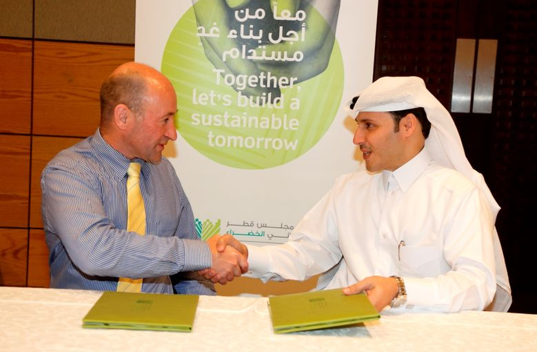 Eng Meshal Al Shamari QGBD Director and Mr Peter Kinsella President of CIBSE at the MoU Signing Ceremony