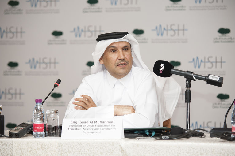 Engineer Saad Al Muhannadi, President of Qatar Foundation, at the WISH press conference