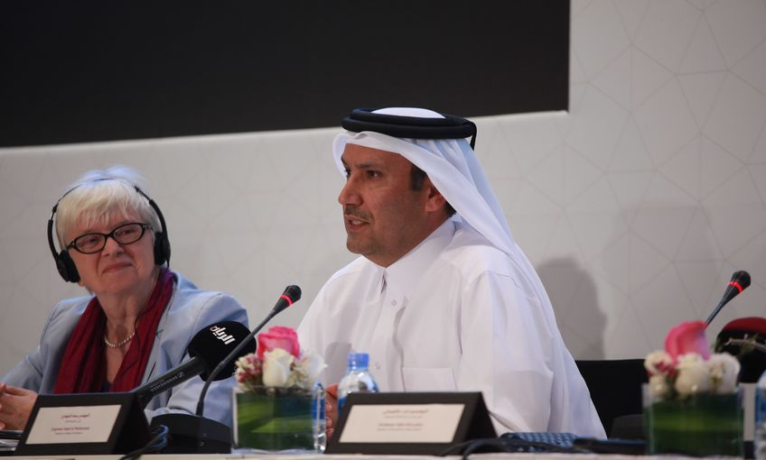 Engineer Saad Al Muhannadi, QF President and Dr Claudia Lux, Project Director of Qatar National Library.jpg