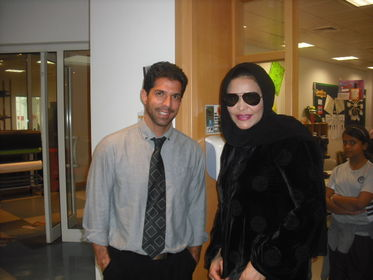 Grade 4 teacher Don Douglas with Arab Idol star Ahlam.JPG