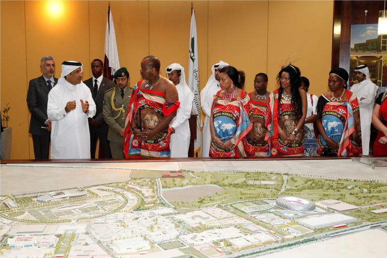 King Mswati III of Swaziland during a state visit to Qatar.jpg