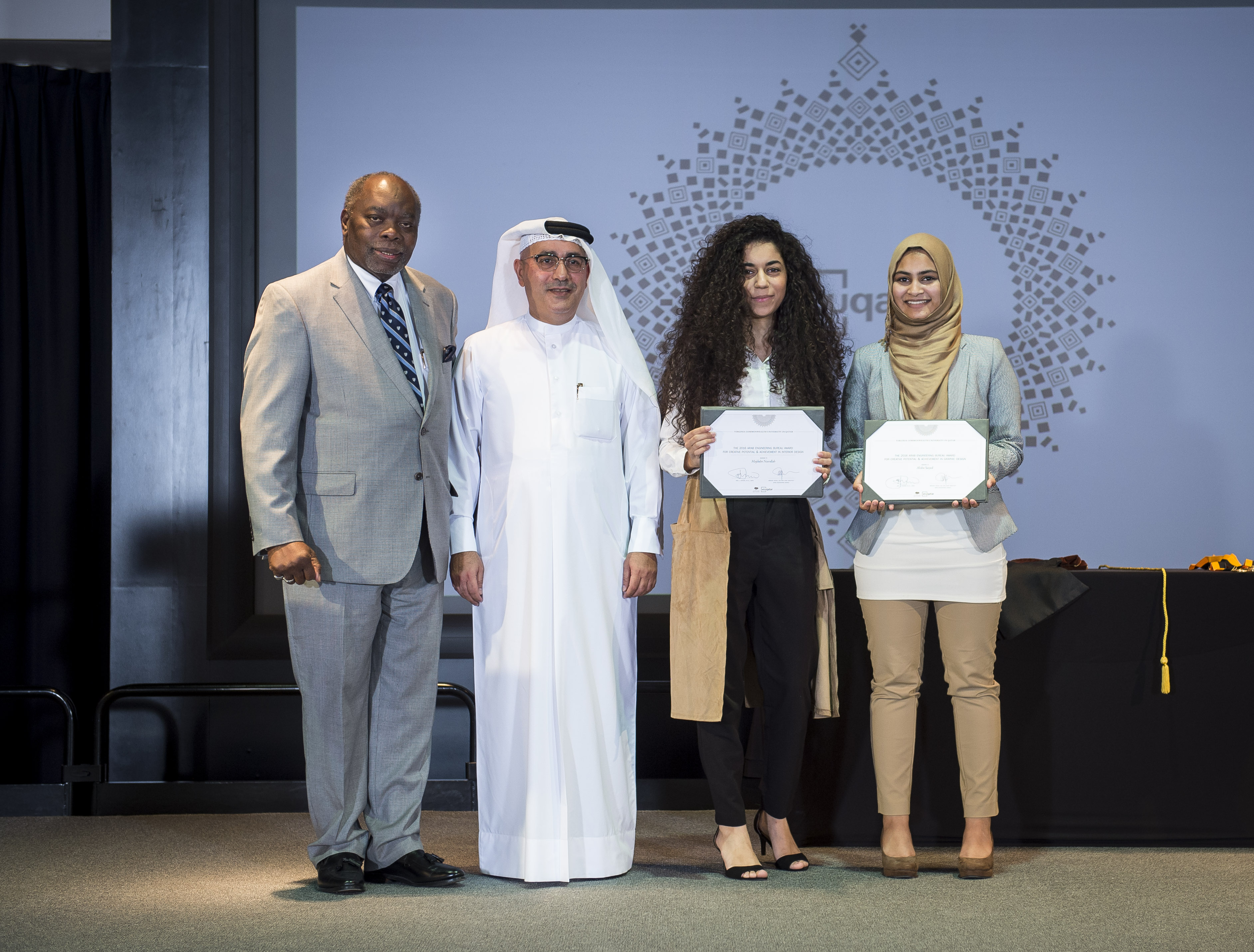 Left to Right-VCUQatar Dean Akel I. Kahera-AEB Group CEO Ibrahim Jaidah-Majdulin Nasrallah-Alisha Saiyed.jpg