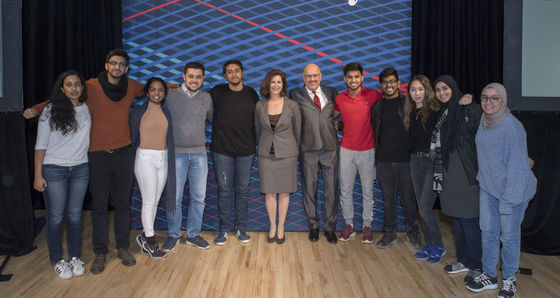 President Jahanian with CMU-Q Students.JPG