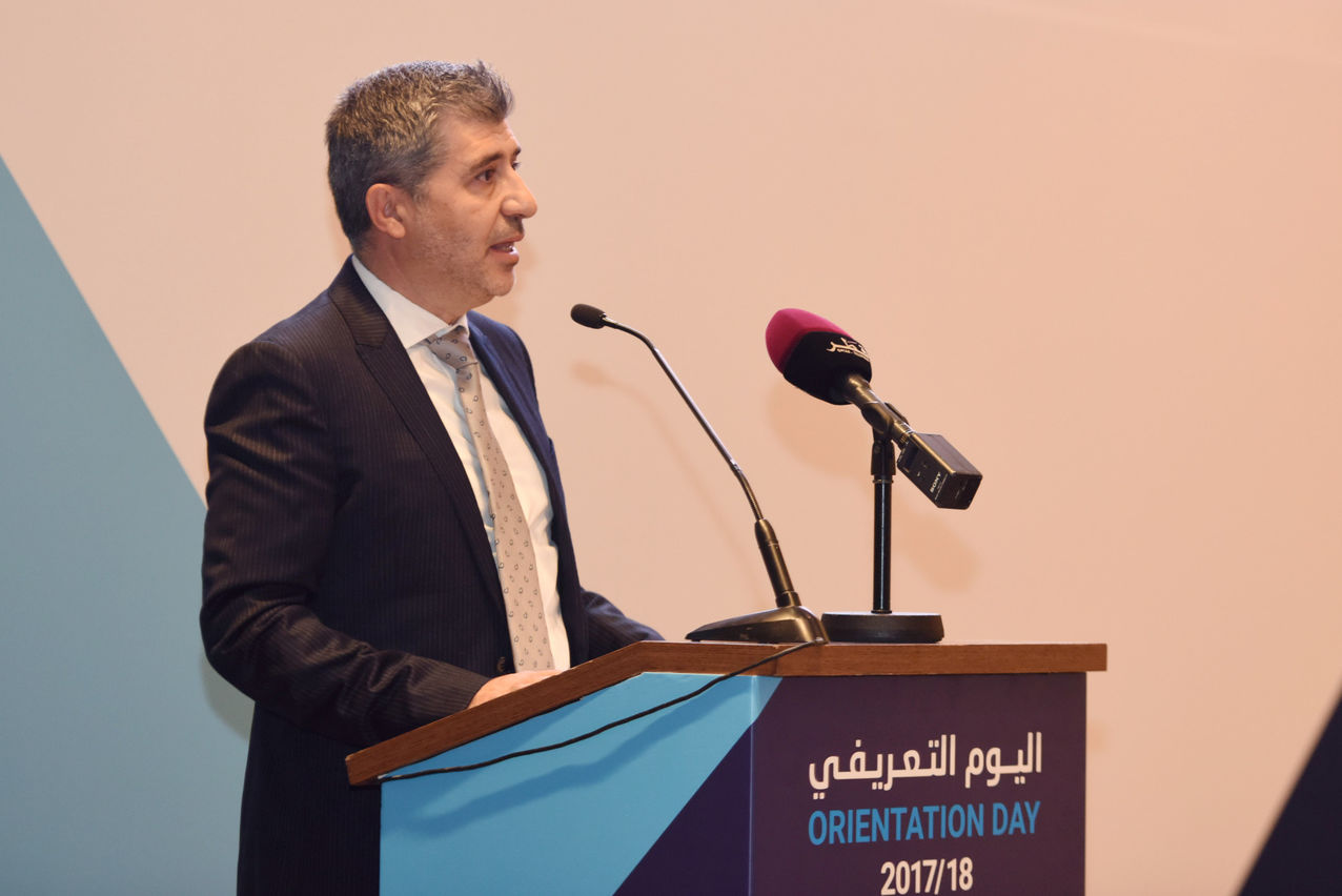 Press Release - Dr. Ahmad M. Hasnah, President of HBKU, speaking at Orientation 2017.JPG