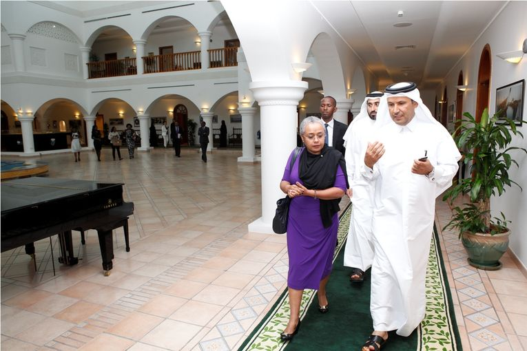 The First Lady of Kenya Her Excellency Margaret Kenyatta Engineer Saad Al Muhannadi President of Qatar Foundation.jpg