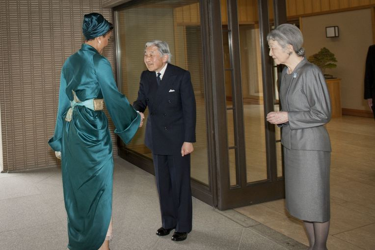 Their Majesties Emperor Akihito and His Consort Empress Michiko meeting with Her Highness Sheikha Moza bint Nasser at the Imperi